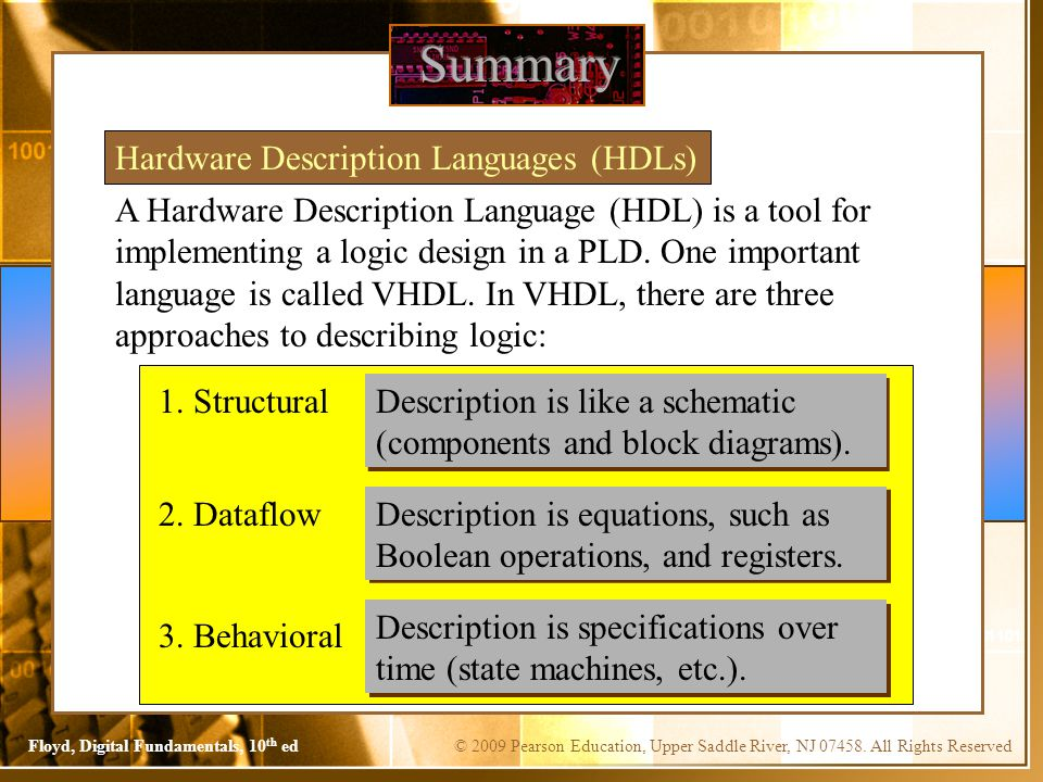Summary Hardware Description Languages (HDLs)