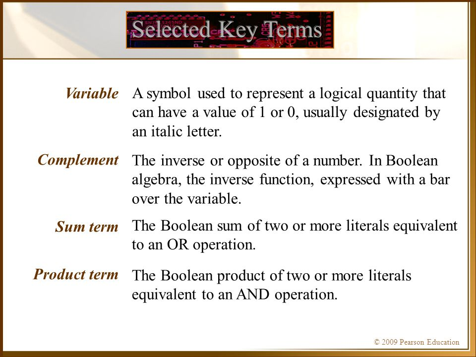 Selected Key Terms Variable Complement Sum term Product term