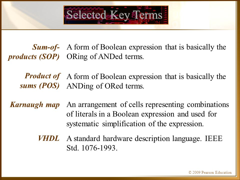 Selected Key Terms Sum-of-products (SOP) Product of sums (POS)
