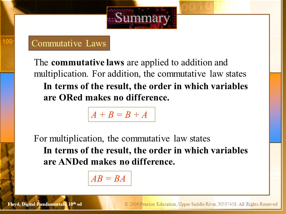 Summary Commutative Laws
