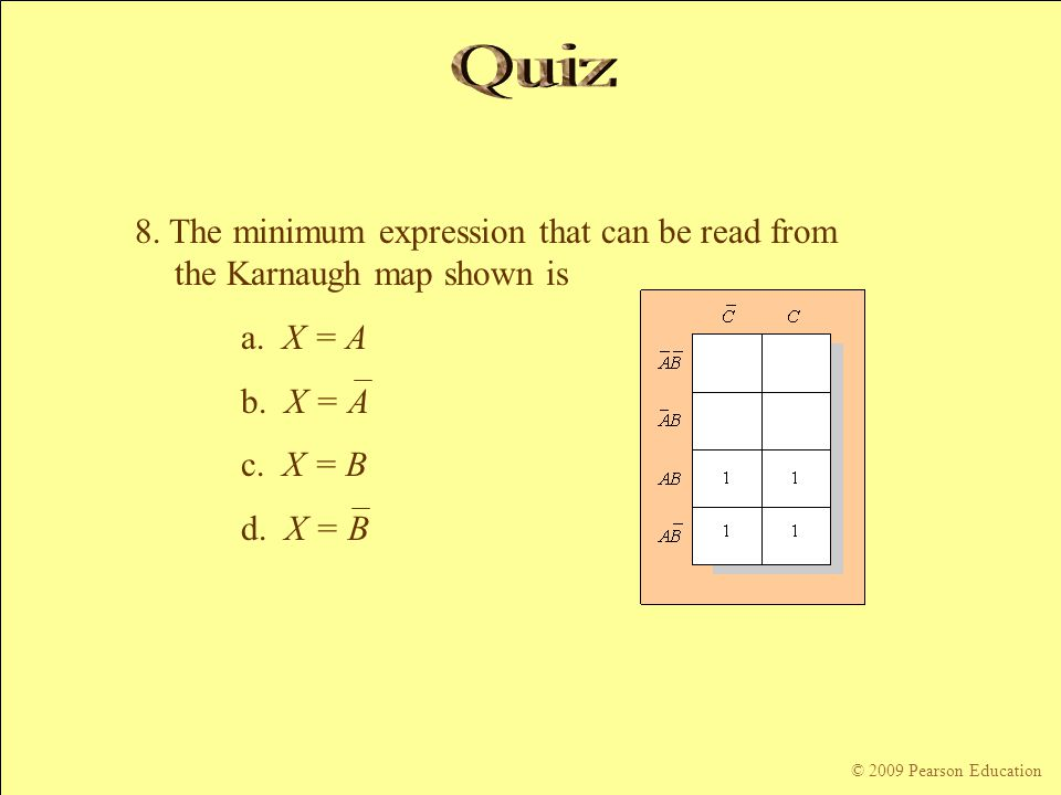Quiz 8. The minimum expression that can be read from the Karnaugh map shown is. a. X = A. b. X = A.