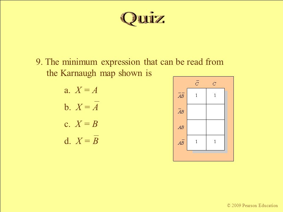 Quiz 9. The minimum expression that can be read from the Karnaugh map shown is. a. X = A. b. X = A.