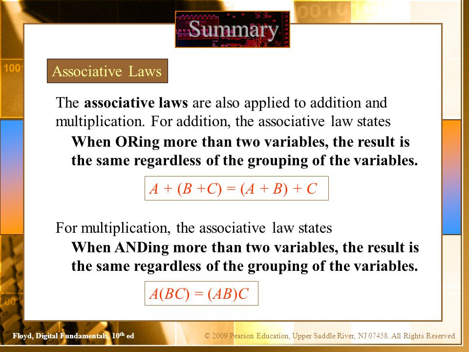 Summary Associative Laws