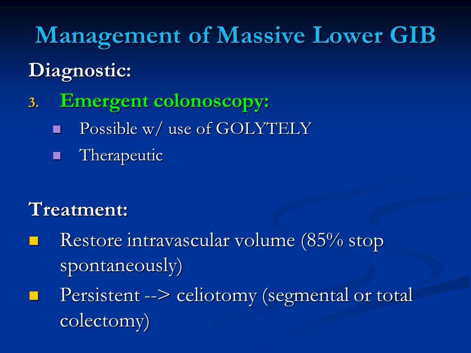 Management of Massive Lower GIB