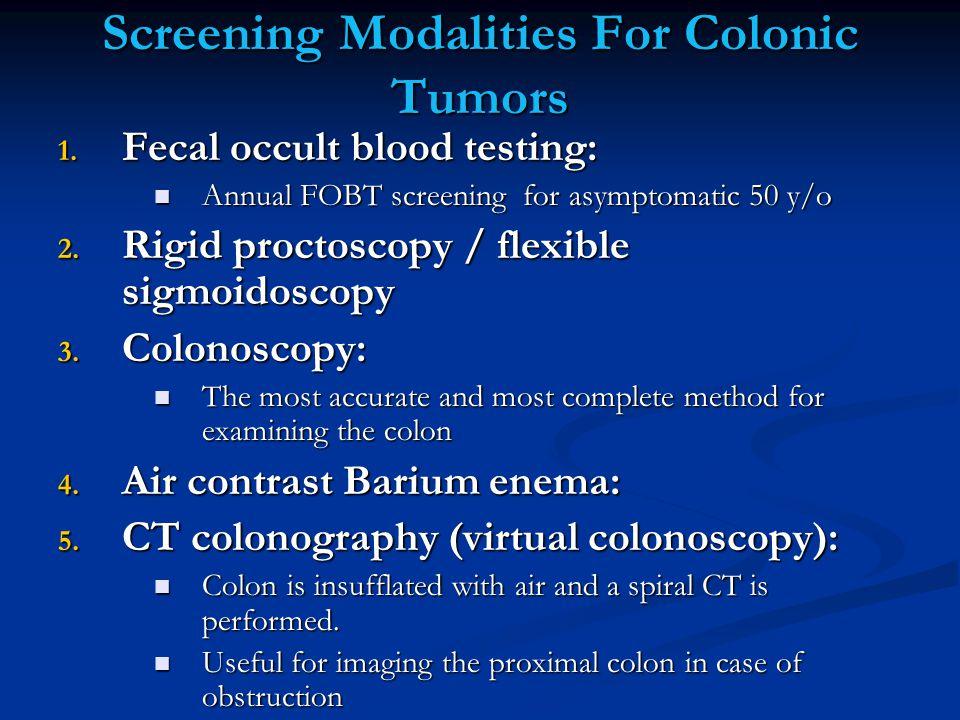 Screening Modalities For Colonic Tumors