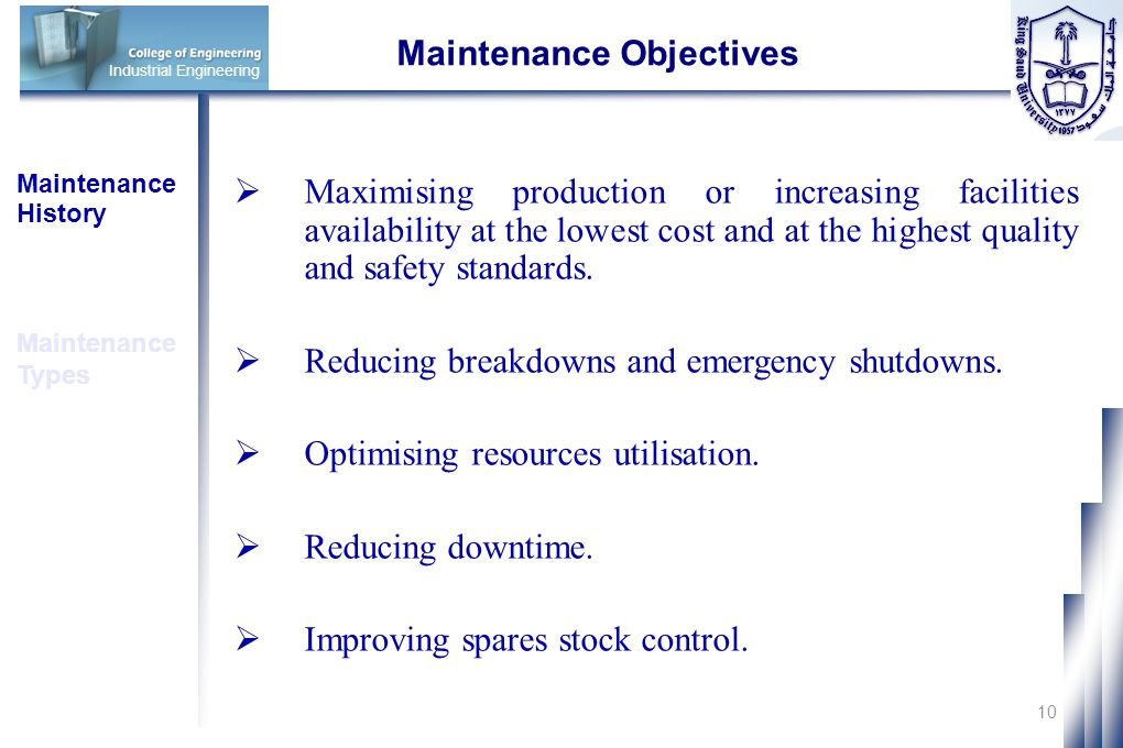 Maintenance Objectives