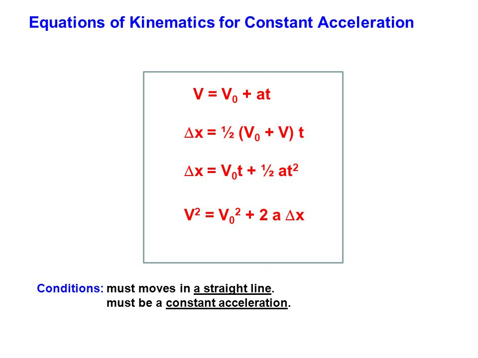 Equations of Kinematics for Constant Acceleration