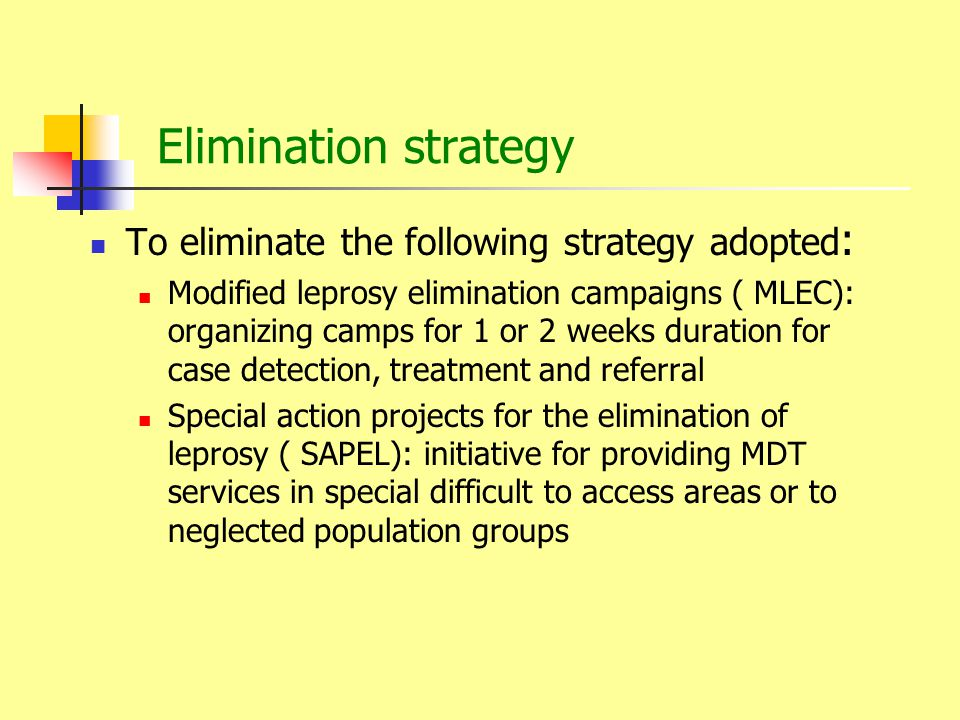 Elimination strategy To eliminate the following strategy adopted:
