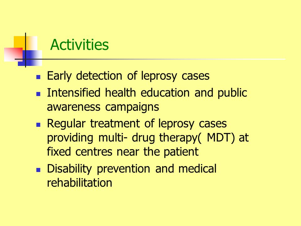 Activities Early detection of leprosy cases