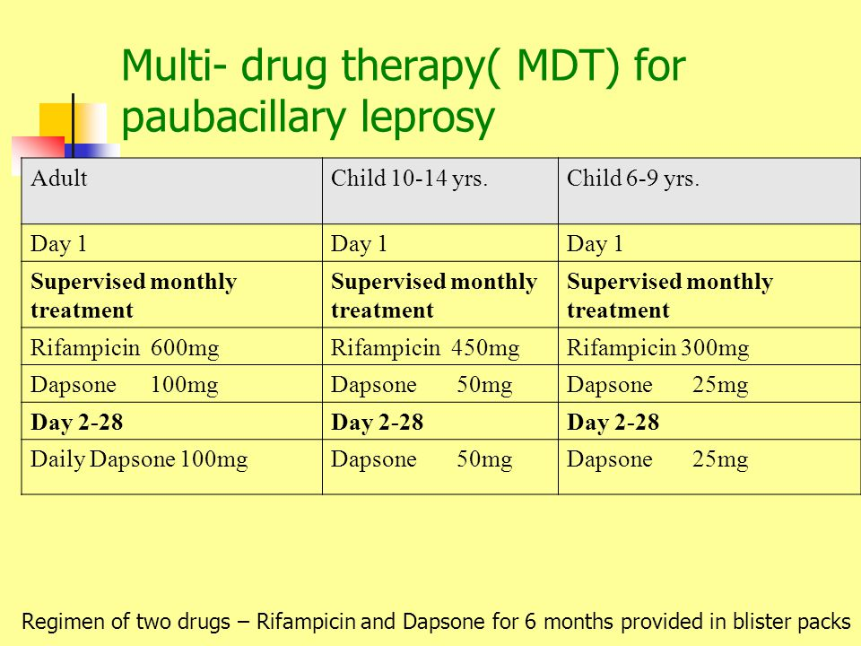 Multi- drug therapy( MDT) for paubacillary leprosy