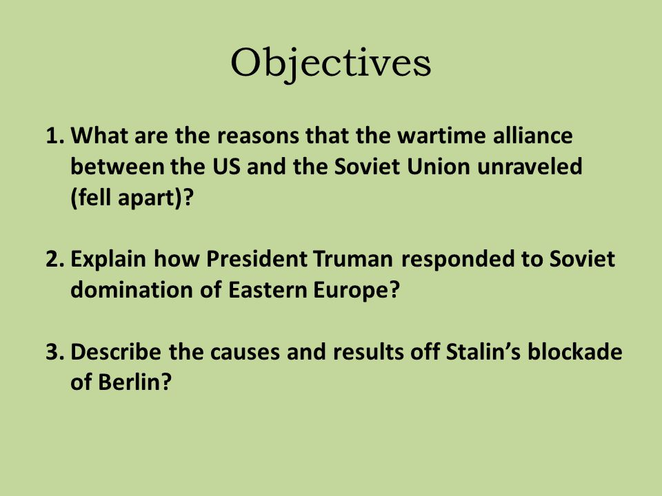 Section 1 The Cold War Begins Ppt Video Online Download