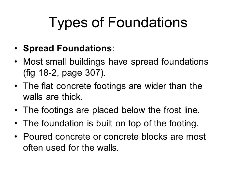 Chapter 18 foundations ppt video online download for Types of shed foundations