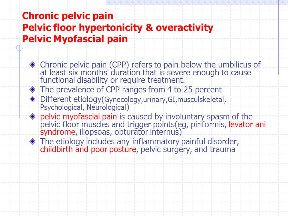 Chronic Pelvic Pain Pelvic Floor Hypertonicity U0026 Overactivity Pelvic  Myofascial Pain
