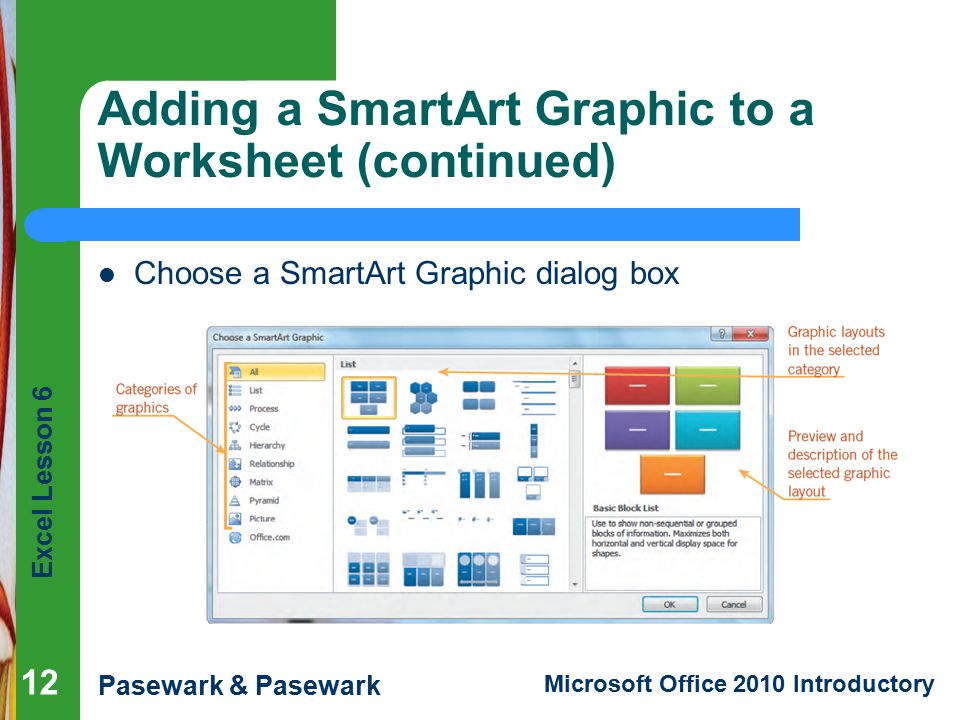Adding a SmartArt Graphic to a Worksheet (continued)