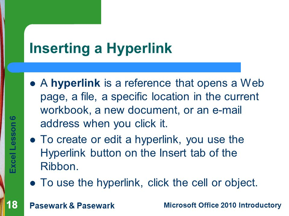 Inserting a Hyperlink
