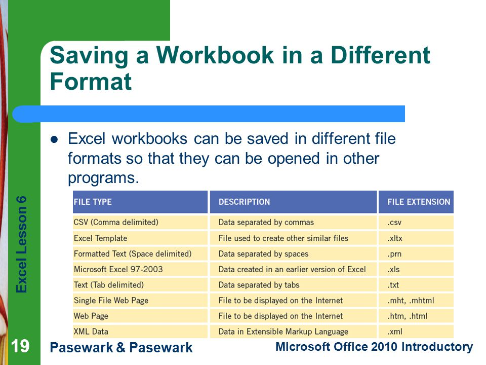 Saving a Workbook in a Different Format
