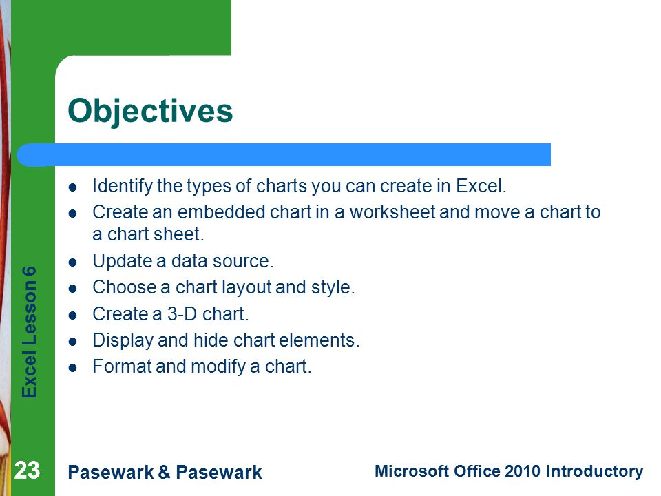 Objectives Identify the types of charts you can create in Excel.