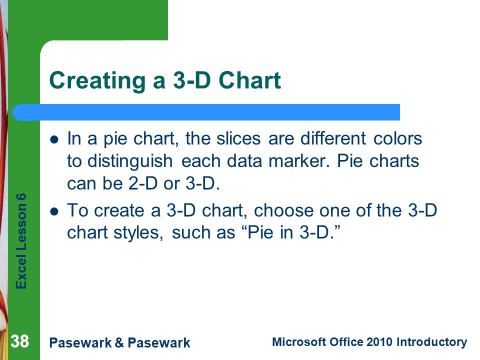 Creating a 3-D Chart In a pie chart, the slices are different colors to distinguish each data marker. Pie charts can be 2-D or 3-D.