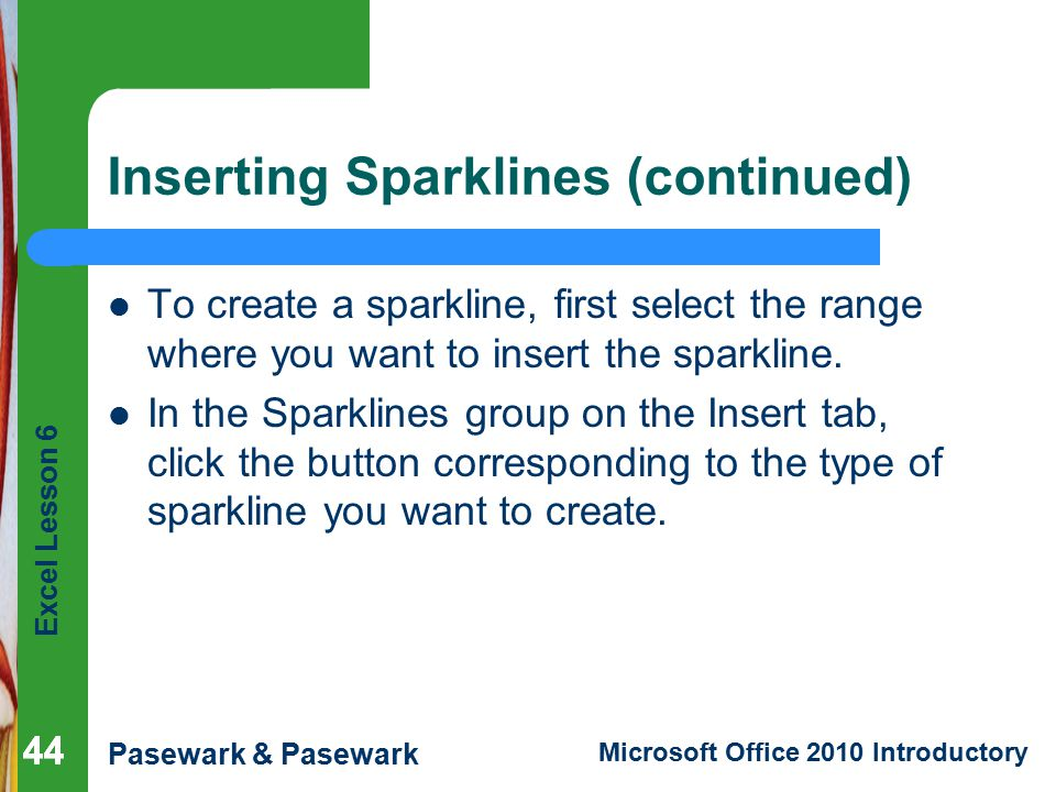 Inserting Sparklines (continued)