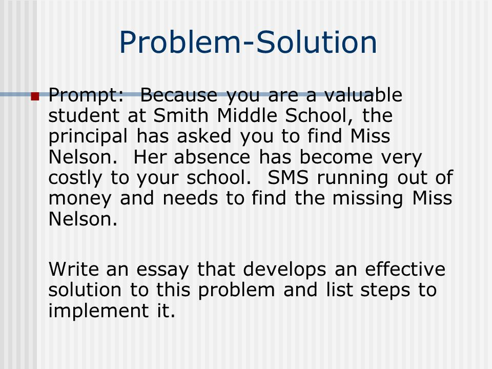 problem solution essay student model