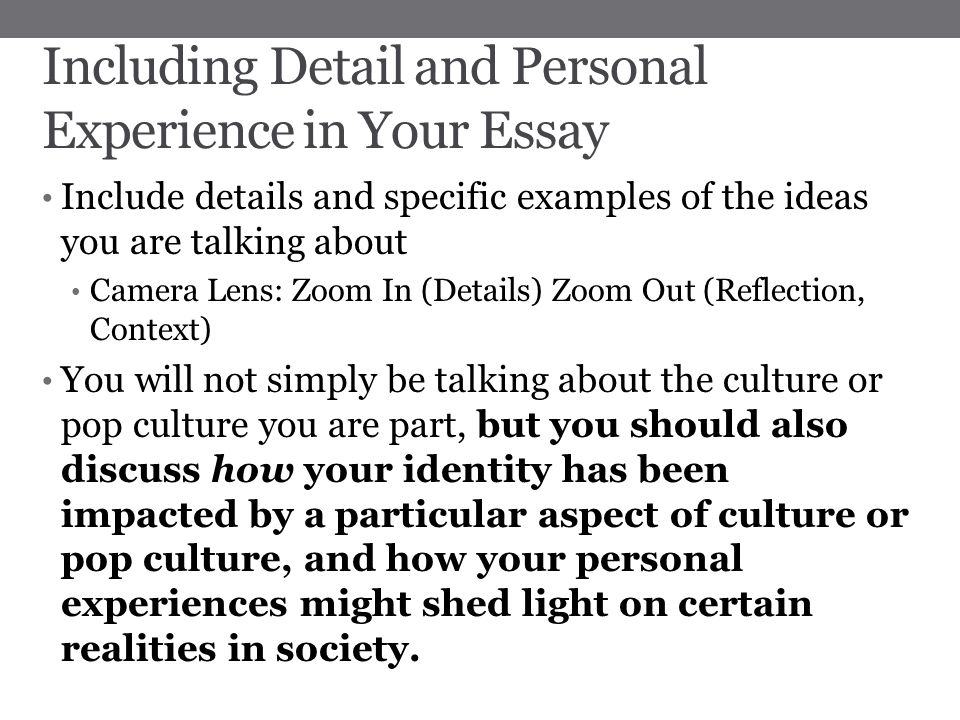 personal life experience essay Life changing experience essay examples a personal narrative on a life-changing experience 1,173 words an experience that changed my entire life 523 words.