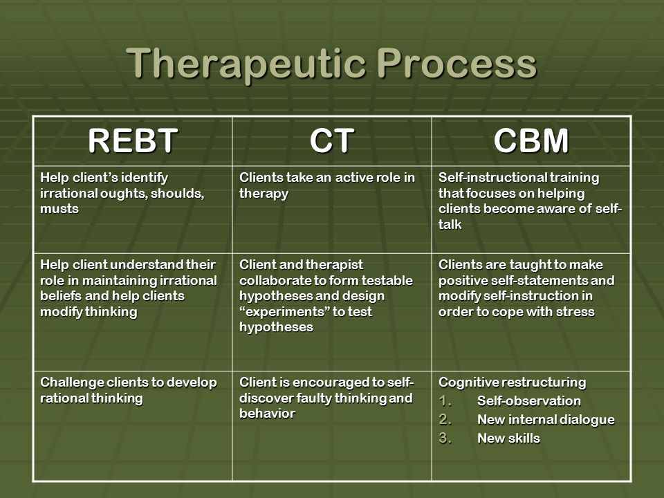 Therapeutic Process REBT CT CBM