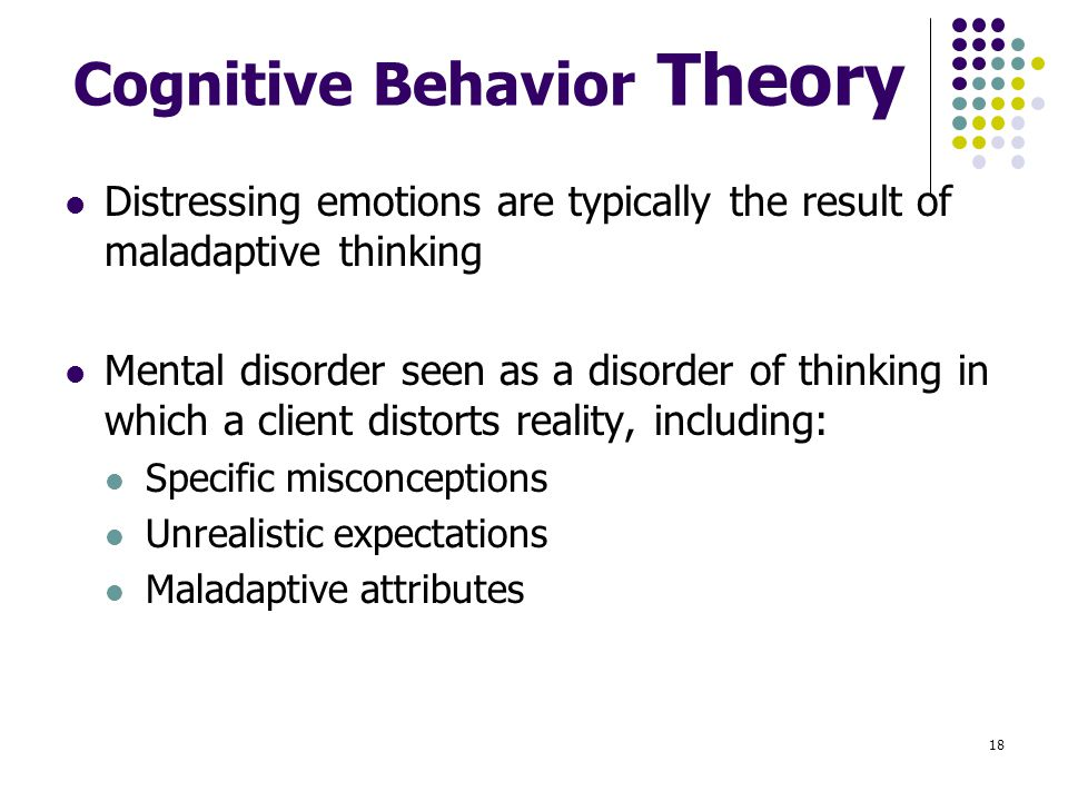 cognitive cognitive behavioral and reality theory Cognitive-behavioral therapy: cognitive-behavioral therapy (cbt) is a type of counseling aimed at teaching the client how to become healthier and experience a more satisfying, fulfilling lifestyle by modifying certain thought and behavior patterns.