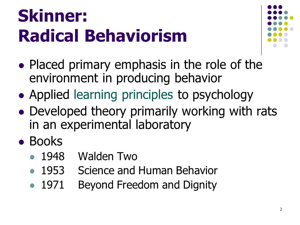 radical behaviorists A social learning approach to behavioral management: radical behaviorists   and human behavior (free press, 1953) and about behaviorism (knopf, 1974.