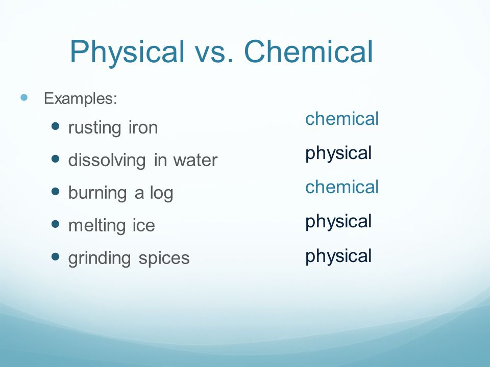 how to know when a chemical change
