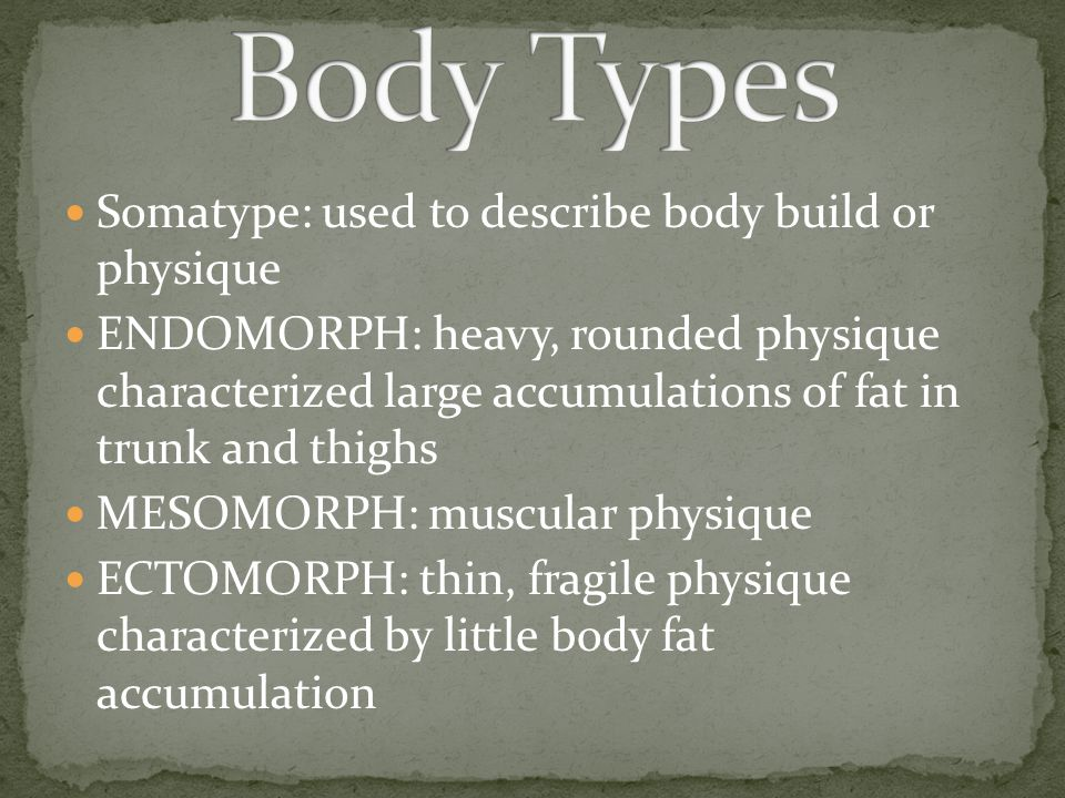 Body Types Somatype: used to describe body build or physique