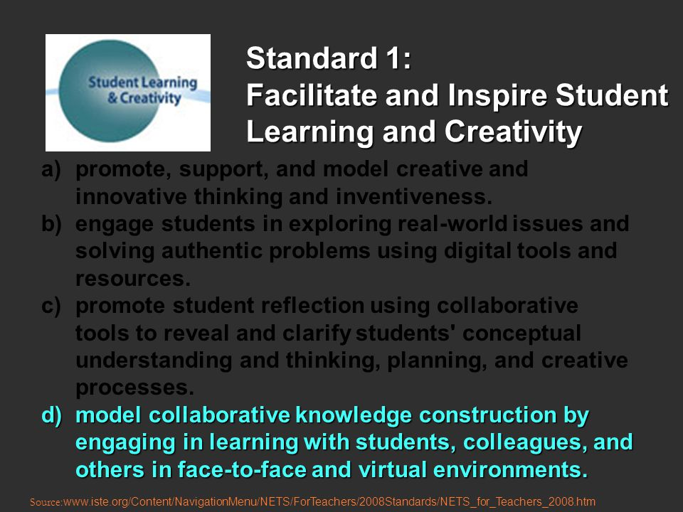 Standard 1: Facilitate and Inspire Student Learning and Creativity