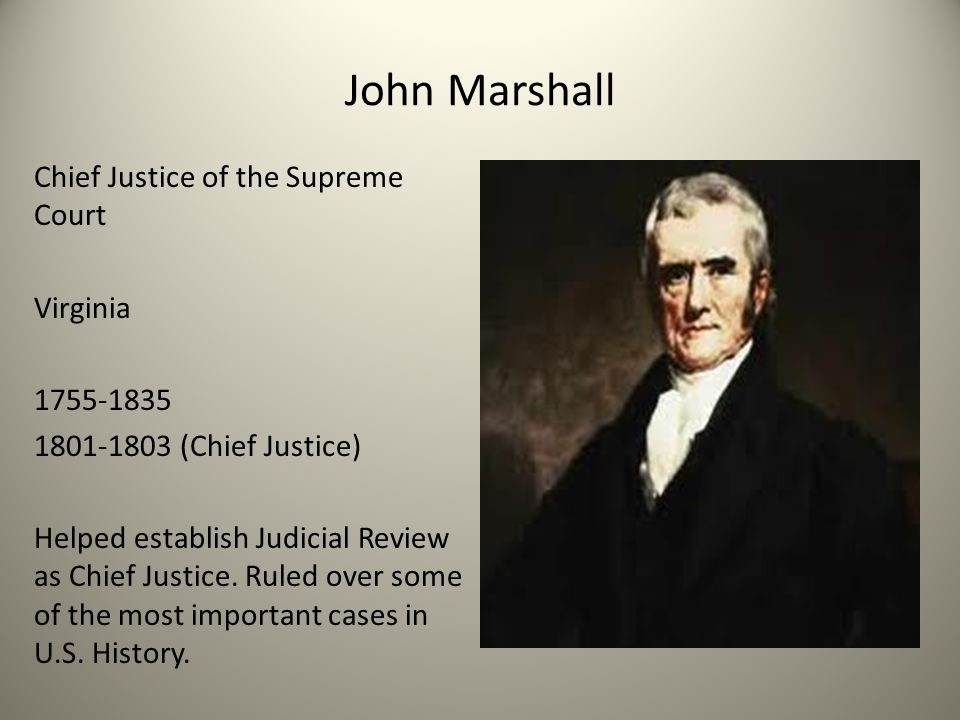 john marshall court cases John marshall: john marshall, fourth chief justice of the united states and principal founder of the us system of constitutional law as perhaps the supreme court's most influential chief justice, marshall was responsible for constructing and defending both the foundation of judicial power and the principles of.