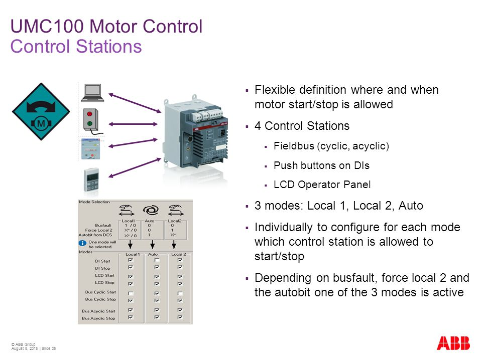 Umc100 fbp technical presentation ppt video online download for Stop start motor control