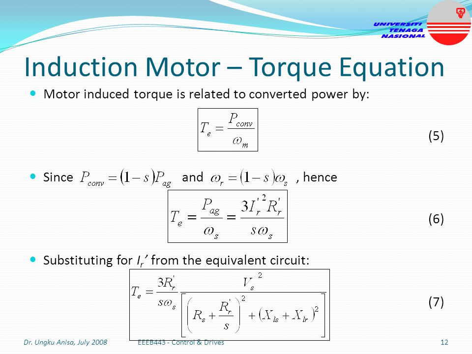 Induction Motor Speed Equation on ac motor current vs frequency