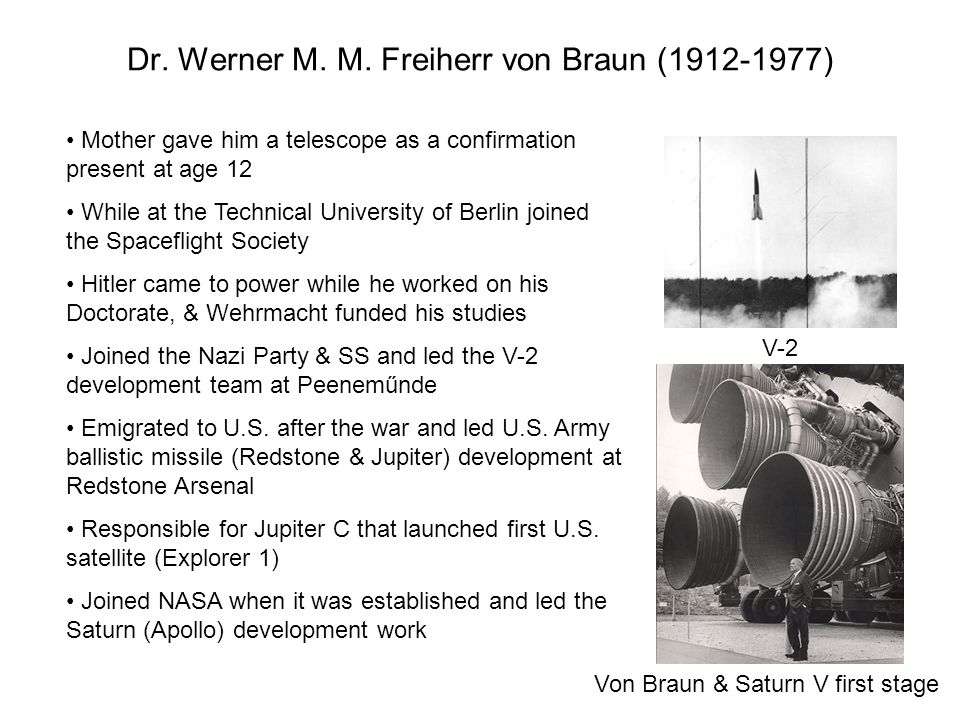 Dr. Werner M. M. Freiherr von Braun (1912-1977)