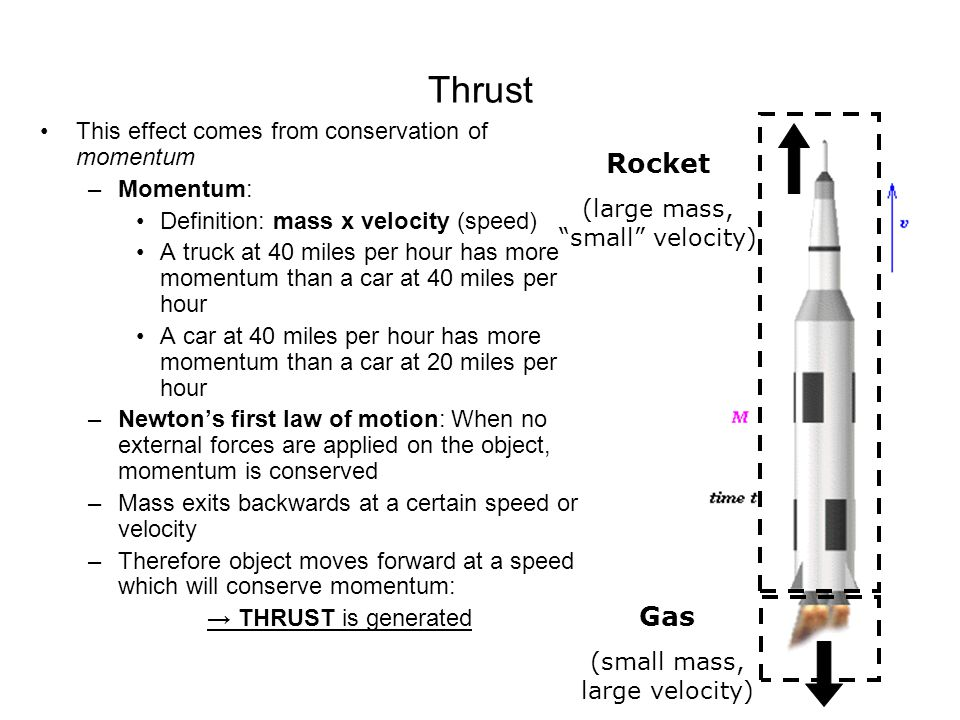 Thrust Rocket Gas This effect comes from conservation of momentum