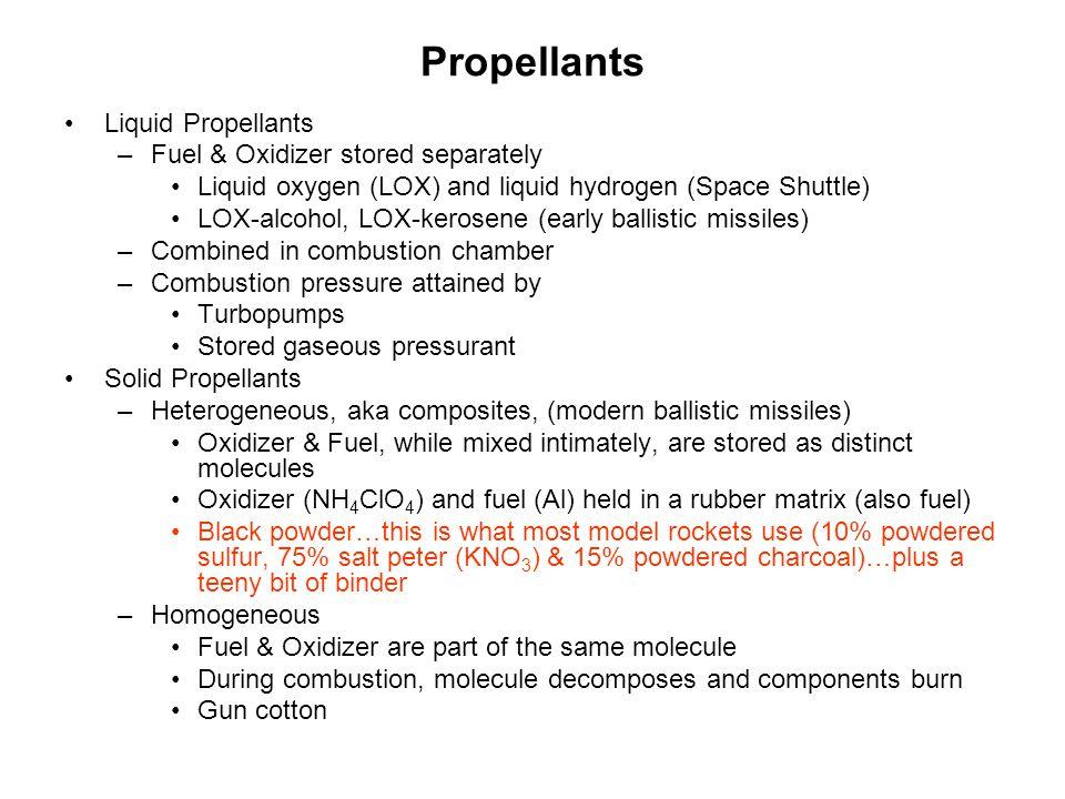 Propellants Liquid Propellants Fuel & Oxidizer stored separately