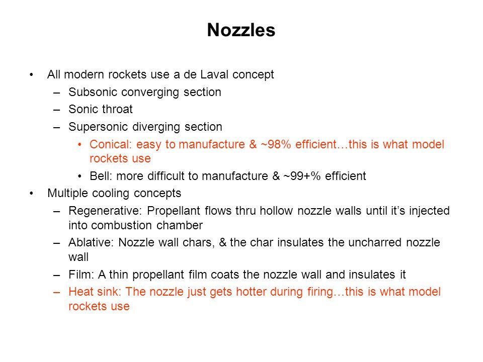 Nozzles All modern rockets use a de Laval concept