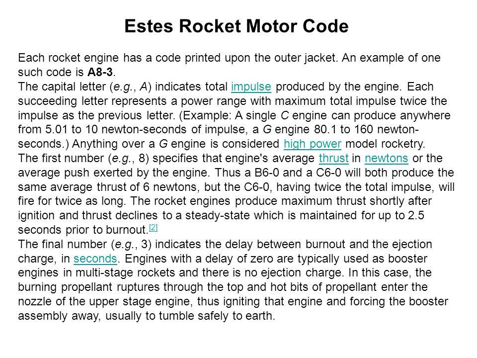 Estes Rocket Motor Code