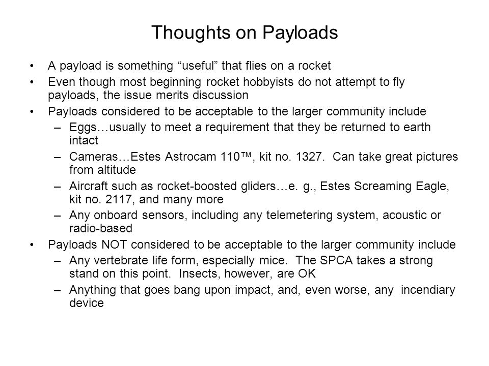 Thoughts on Payloads A payload is something useful that flies on a rocket.