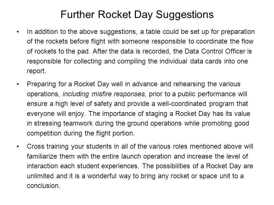 Further Rocket Day Suggestions