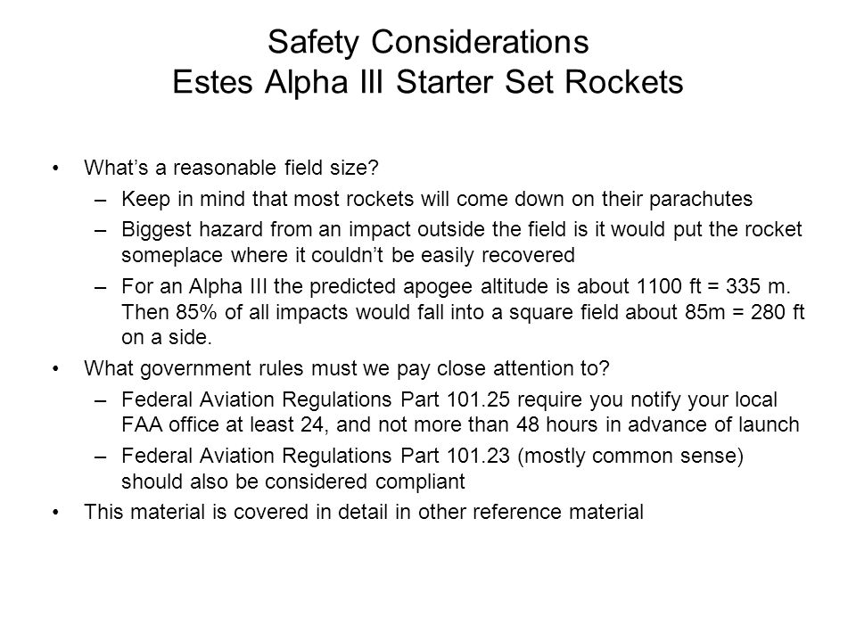 Safety Considerations Estes Alpha III Starter Set Rockets