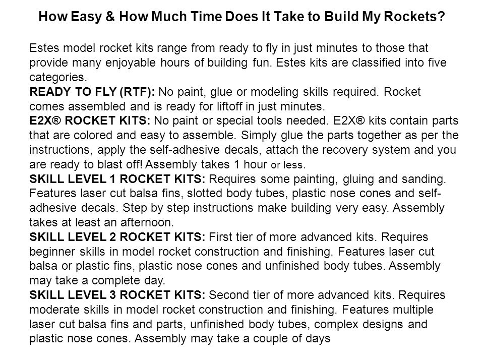How Easy & How Much Time Does It Take to Build My Rockets