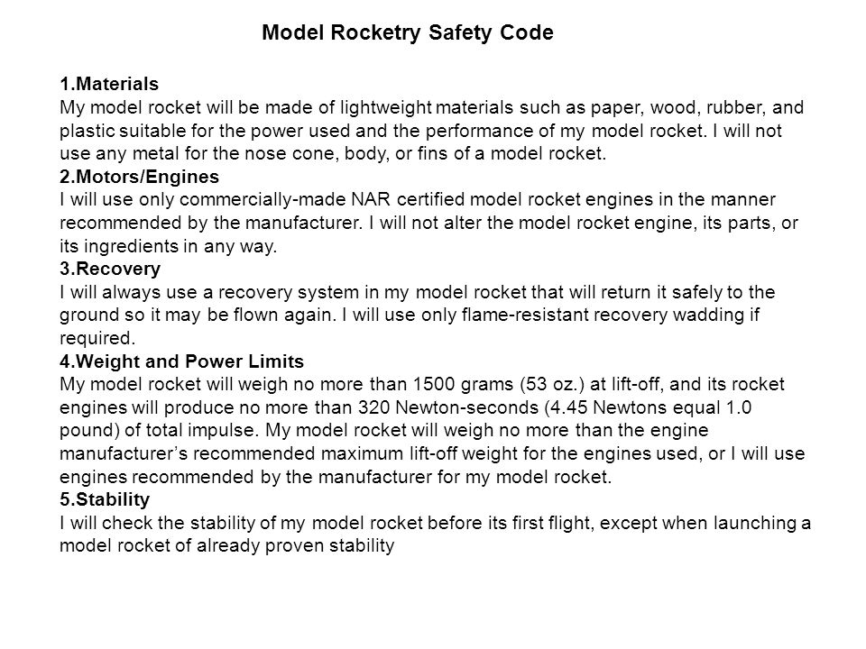Model Rocketry Safety Code