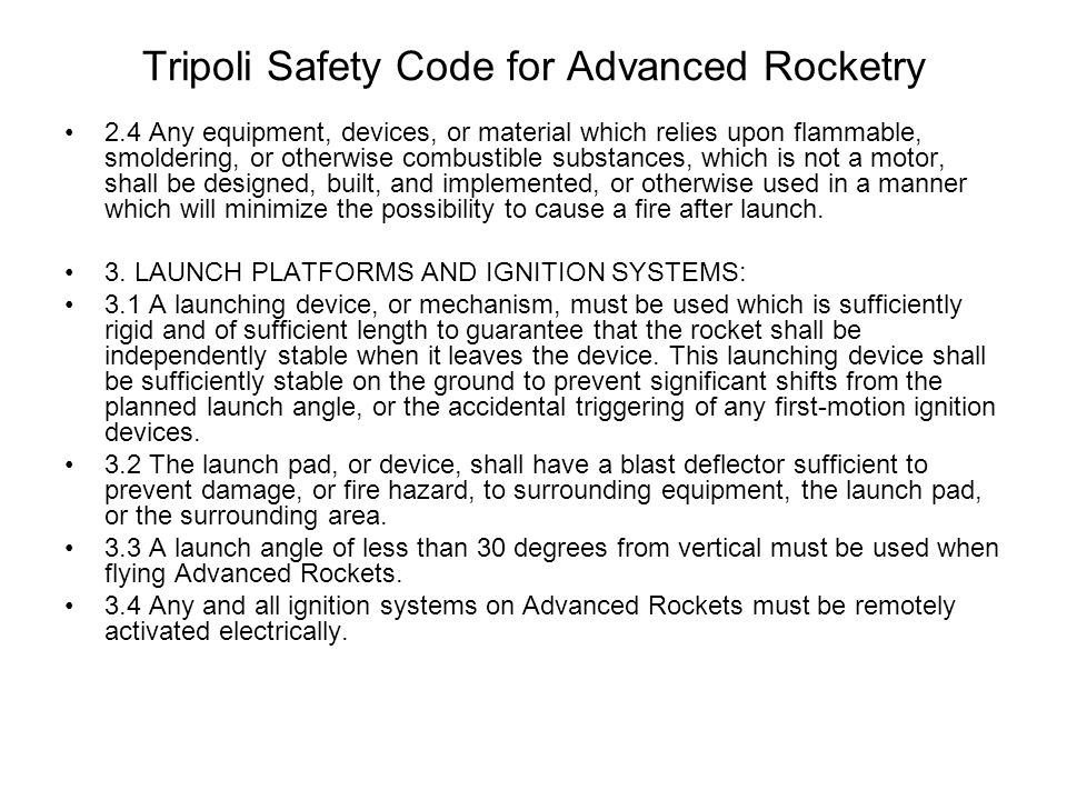 Tripoli Safety Code for Advanced Rocketry
