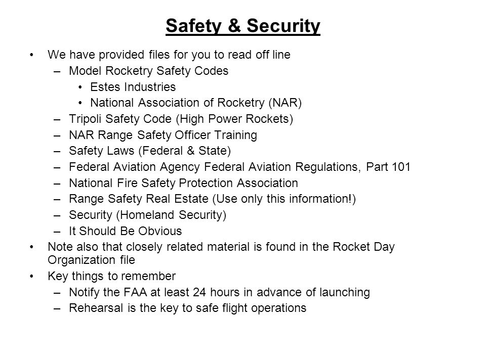 Safety & Security We have provided files for you to read off line