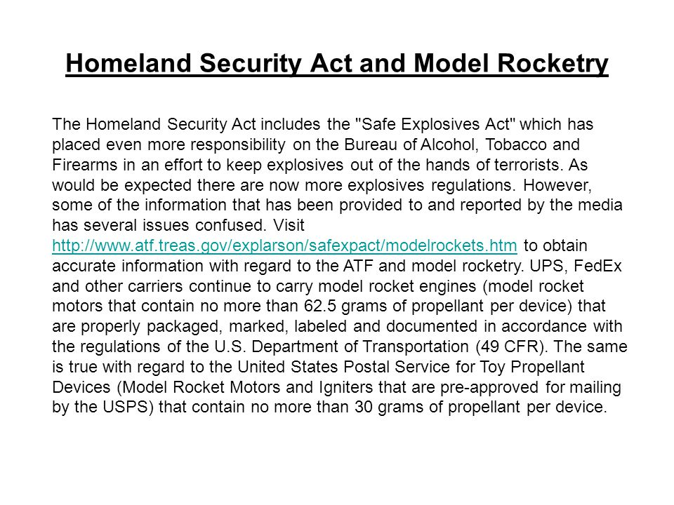 Homeland Security Act and Model Rocketry