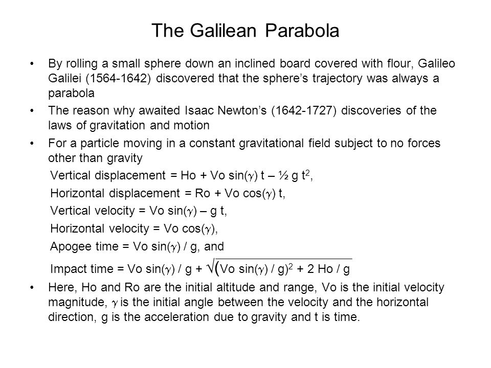 The Galilean Parabola