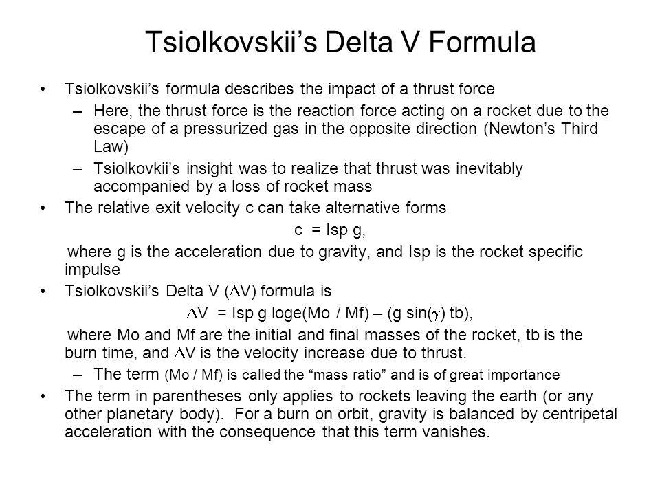 Tsiolkovskii's Delta V Formula