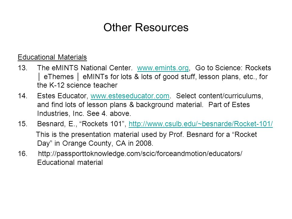 Other Resources Educational Materials